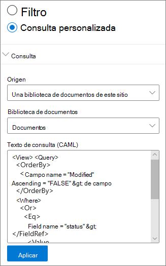 Configuración de consulta personalizada