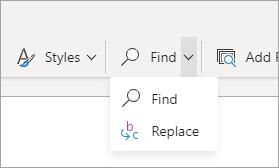 Menú desplegable búsqueda simplificada de la cinta de opciones.