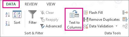 Haga clic en la pestaña Datos y luego en Texto en columnas