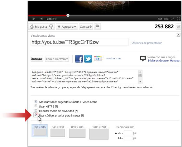 Establecer un vínculo a un vídeo en YouTube