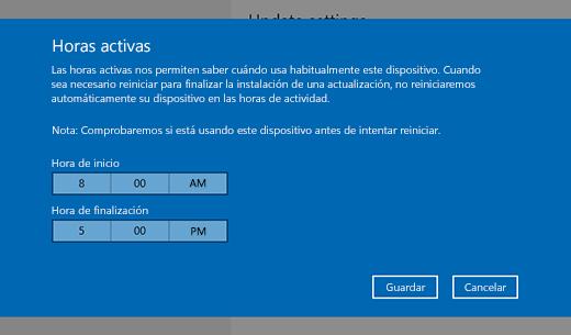 Captura de pantalla de la ventana de diálogo para cambiar las horas activas