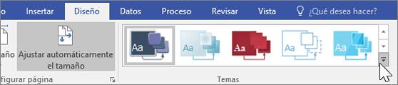 Captura de pantalla de las opciones de la barra de herramientas Diseño > Temas