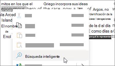 Seleccionar búsqueda inteligente