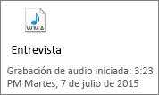 Un icono de audio de muestra