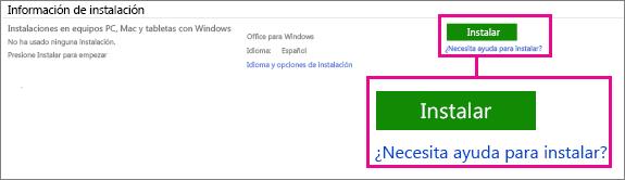 En Información de instalación, elija Office para Windows u Office para Mac y haga clic en Instalar.