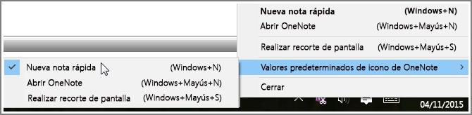 Captura de pantalla de la bandeja del sistema con opciones de OneNote.