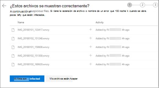 Captura de pantalla de la pantalla adecuada de buscar estos archivos en el sitio web de OneDrive