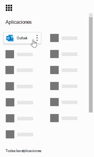 Iniciador de aplicaciones de Office 365 con la aplicación Outlook resaltada