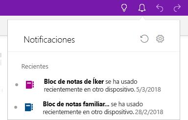 Panel Notificaciones en el que se muestran dos blocs de notas que se han abierto en otro dispositivo.