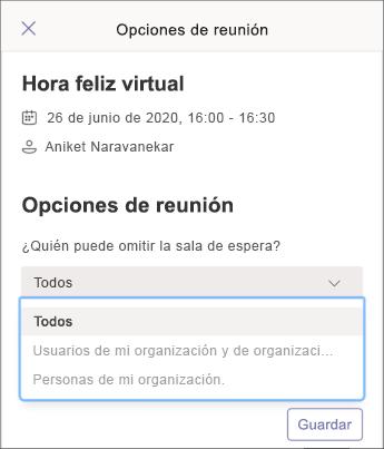 Opciones de reunión-captura de pantalla para móvil