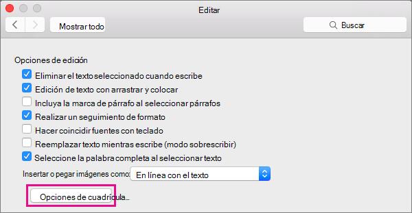Haga clic en Opciones de cuadrícula para establecer las opciones de acoplamiento de los objetos en la vista de diseño de impresión.
