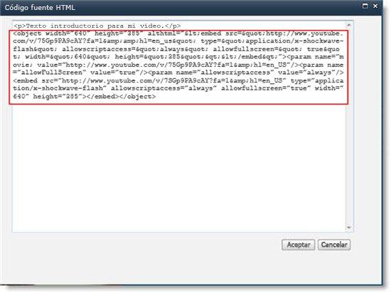 Editor de código fuente HTML del elemento web Editor de contenido con código para insertar para un vídeo
