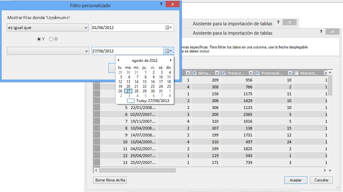 Panel de filtro en el Asistente para la importación de tablas