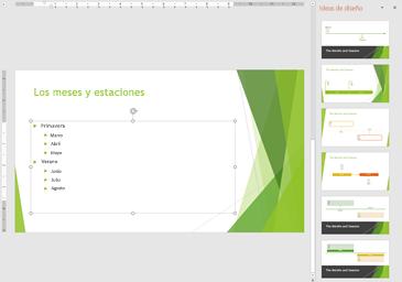 Presentación con diseños de escala de tiempo sugeridos