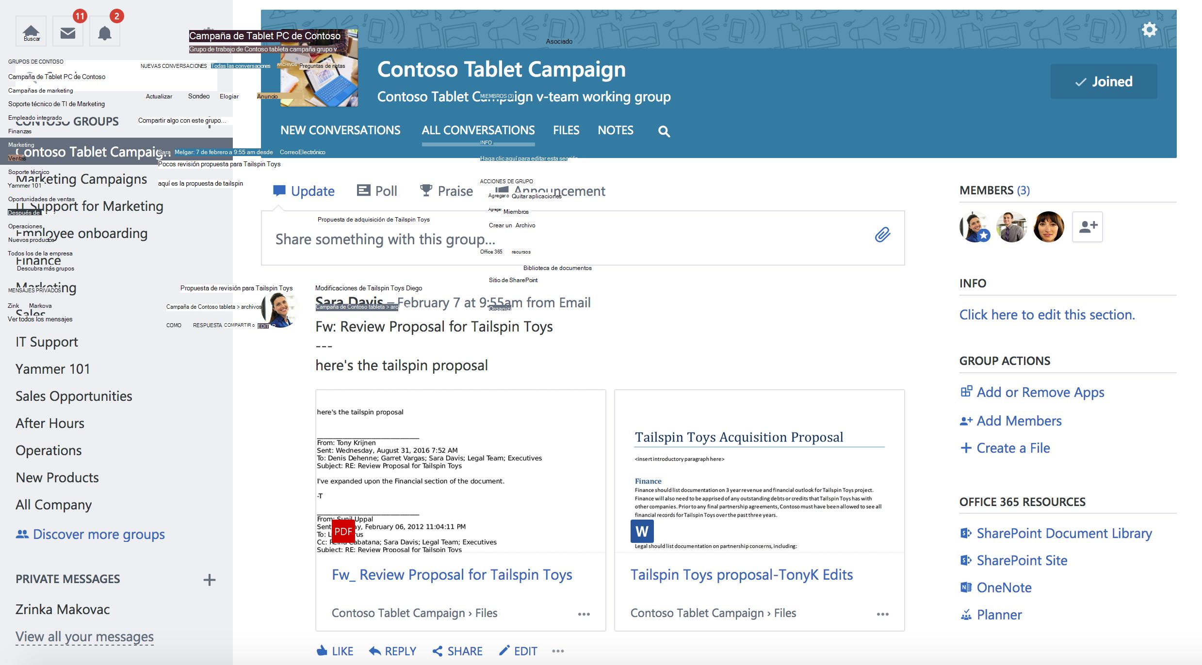 Captura de pantalla de las conversaciones de grupo de Yammer conectadas de Office 365