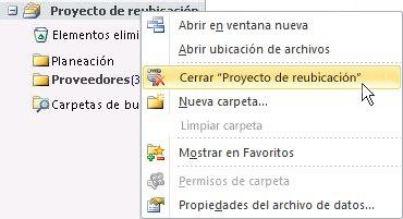 Comando Cerrar archivo de datos de Outlook (.pst)