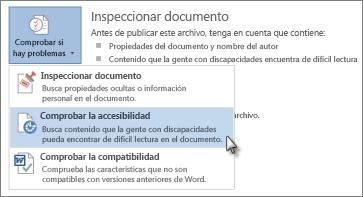 Comprobación de un Comando de accesibilidad en Word 2013