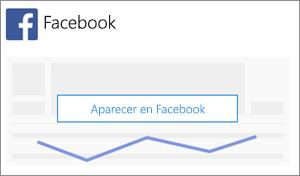 Captura de pantalla: Haga clic o toque Anunciarse en Facebook para empezar