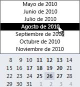 Explorador de fechas con selector de mes