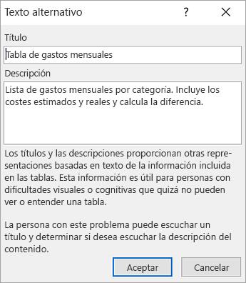 Captura de pantalla del cuadro de diálogo Texto alternativo