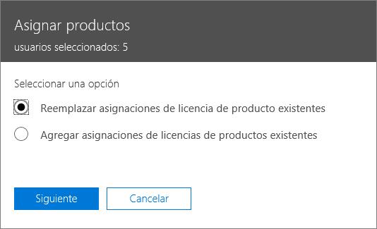 La opción de reemplazar las asignaciones de licencias de producto existentes en el panel de asignación de productos.