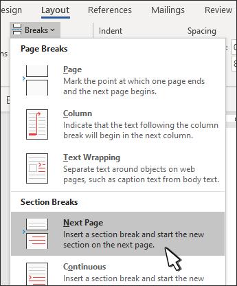 Salto de sección para la página siguiente