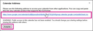 google calendar - cuadro de diálogo dirección del calendario