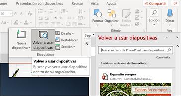 Botón volver a usar diapositivas y panel abierto en PowerPoint