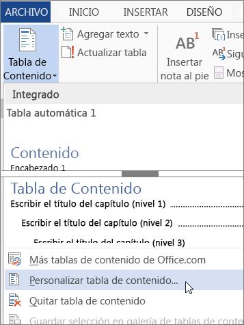Personalizar tabla de contenido