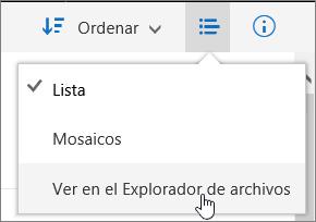 Elemento de menú Abrir en el Explorador resaltado en OneDrive para la Empresa