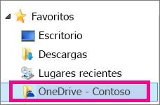 OneDrive para la Empresa sincronizado en el Explorador de archivos de Windows
