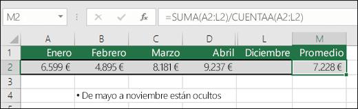 Usar SUMA con otras funciones.  La fórmula en la celda M2 es =SUMA(A2:L2)/CUENTAA(A2:L2) .  Nota: Las columnas Mayo a Noviembre se han ocultado para mayor claridad.