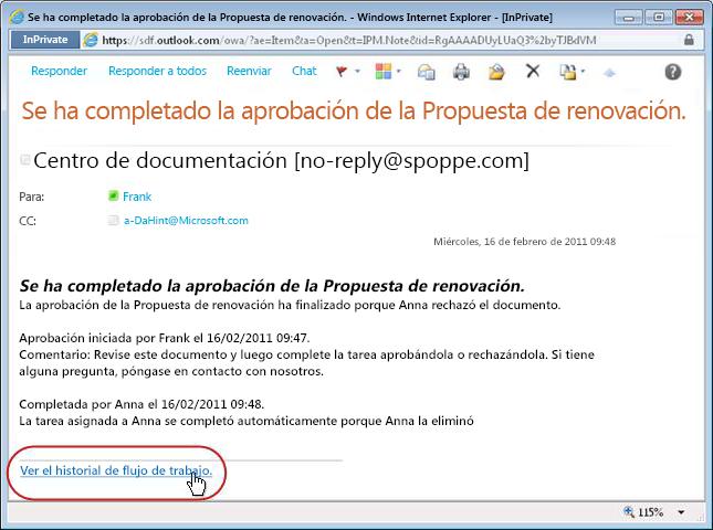Notificación de flujo de trabajo completado con vínculo al historial resaltado