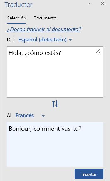 Mostrar traducción de selección