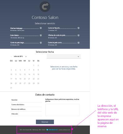 Ejemplo de una página de reserva usada por los clientes