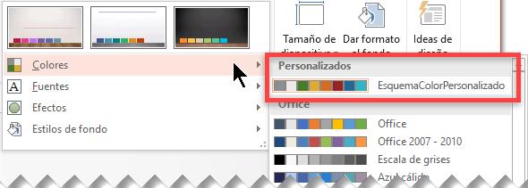 Después de definir un esquema de color personalizado, aparece en el menú desplegable Colores