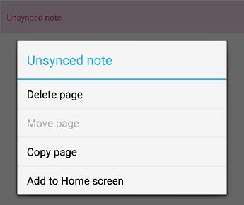 El menú de notas de OneNote para Android