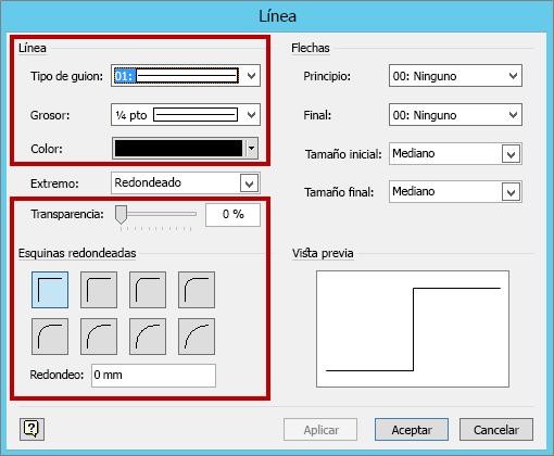 Grosor de línea y otras opciones de configuración