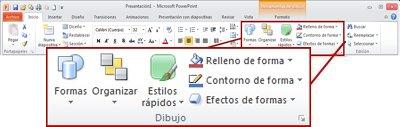 El grupo Dibujo de la ficha Inicio en la cinta de opciones de PowerPoint 2010.