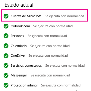 Estado del servicio Cuenta de Microsoft