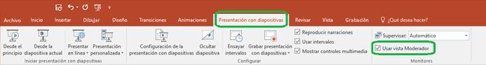 La opción de Vista del moderador se controla con una casilla en la pestaña Presentación con diapositivas de la cinta de PowerPoint.