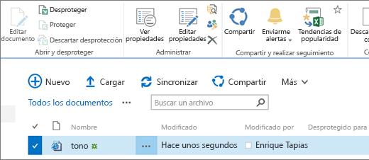 Sección de edición de la cinta de opciones con un elemento seleccionado