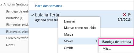 Ruta de acceso del menú para recuperar elementos de carpeta Elementos eliminados en Outlook Online