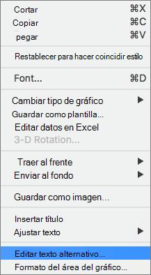 Opción de texto alternativo en un menú contextual para agregar un texto alternativo a un gráfico
