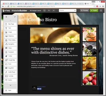 Ejemplo de una barra lateral en la herramienta de diseño de sitios web de GoDaddy