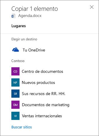 Captura de pantalla de Seleccionar un destino cuando se copia un archivo desde OneDrive para la Empresa a un sitio de SharePoint.