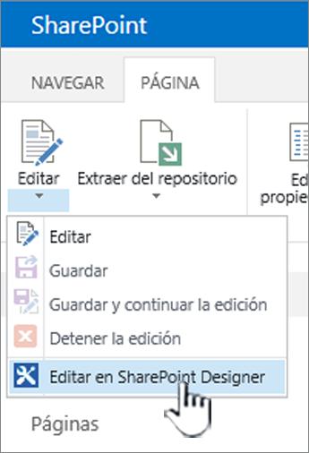 Selección de SharePoint Designer en el menú Edición