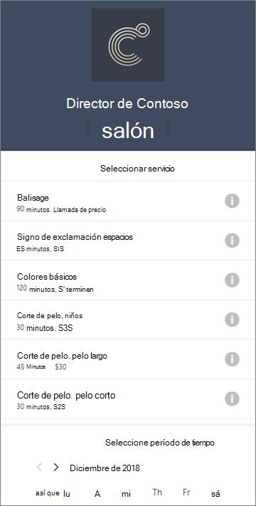 Un formulario de reservas de ejemplo para una salon de pelo