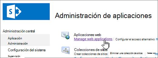 Abra la configuración de la aplicación web