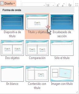 Elegir y aplicar un diseño a una diapositiva
